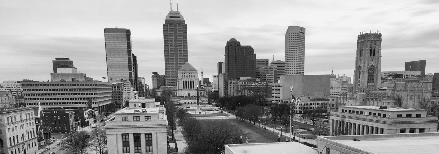 grey and black skyline of indianapolis