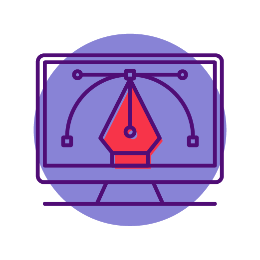 illustrated pen tool with red tip on purple circle