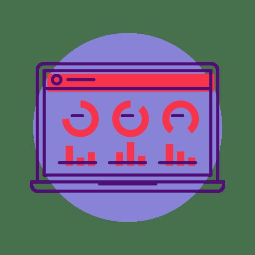 digital reporting dashboard illustration on purple circle