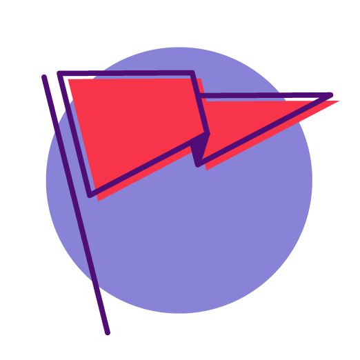 red flag icon on a purple circle