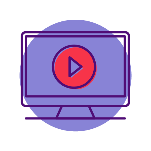 video play button on a monitor on a purple circle