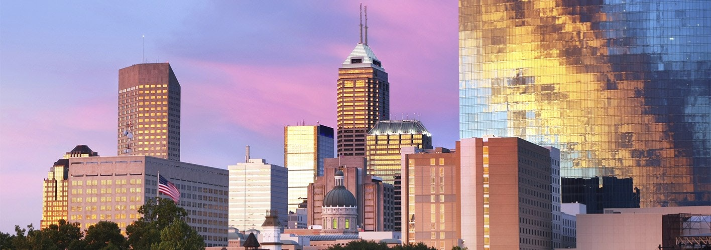 indianapolis skyline with a sunset