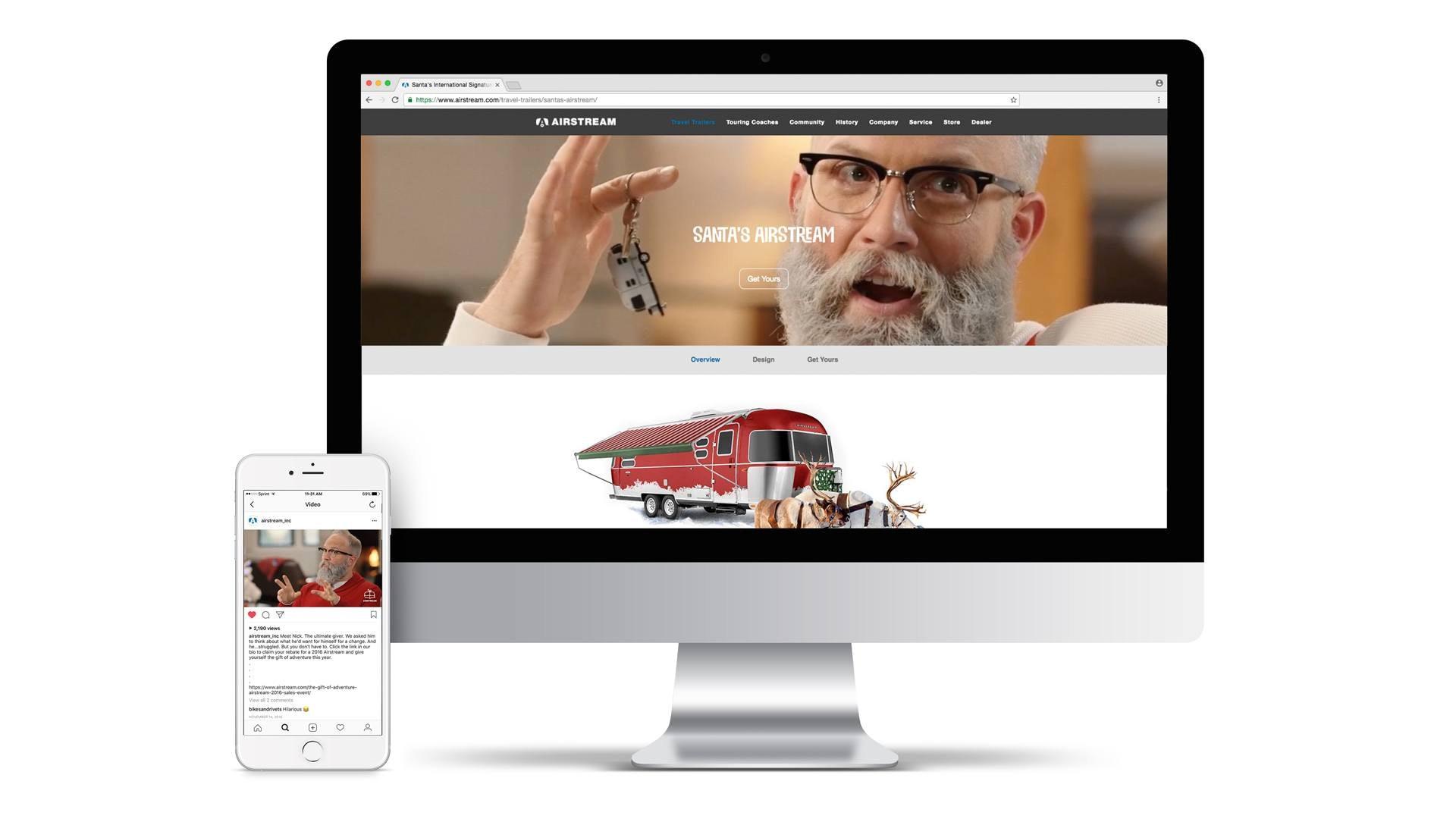 desktop image of a digital marketing campaign featuring santa