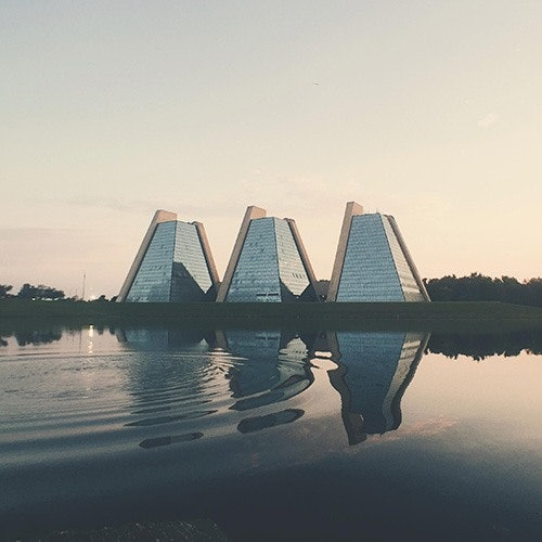 indianapolis pyramids in front of lake