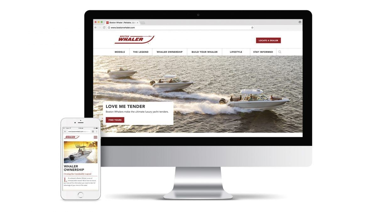 boston whaler website on desktop and mobile