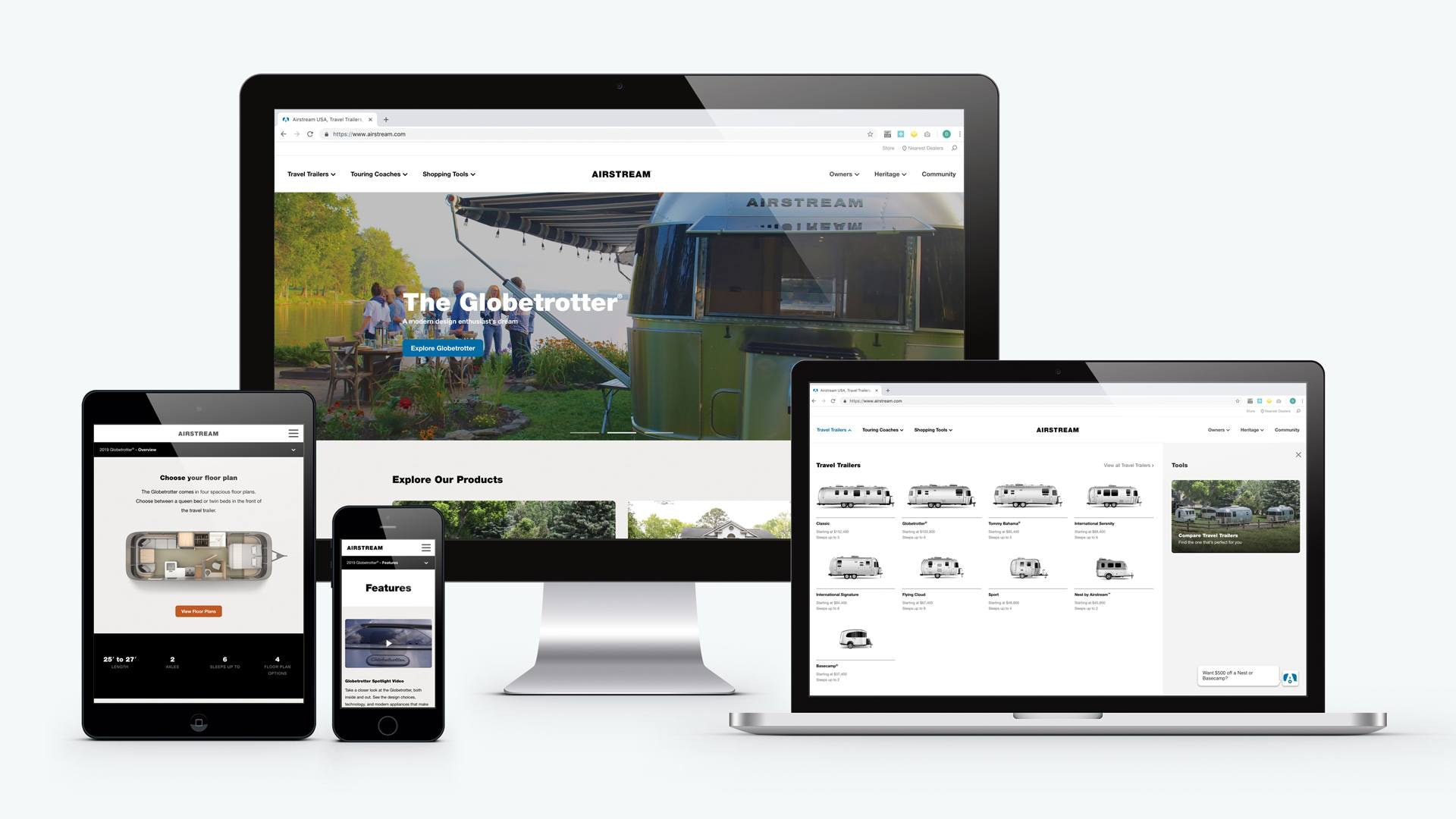 airstream website on desktop, laptop, ipad, and mobile