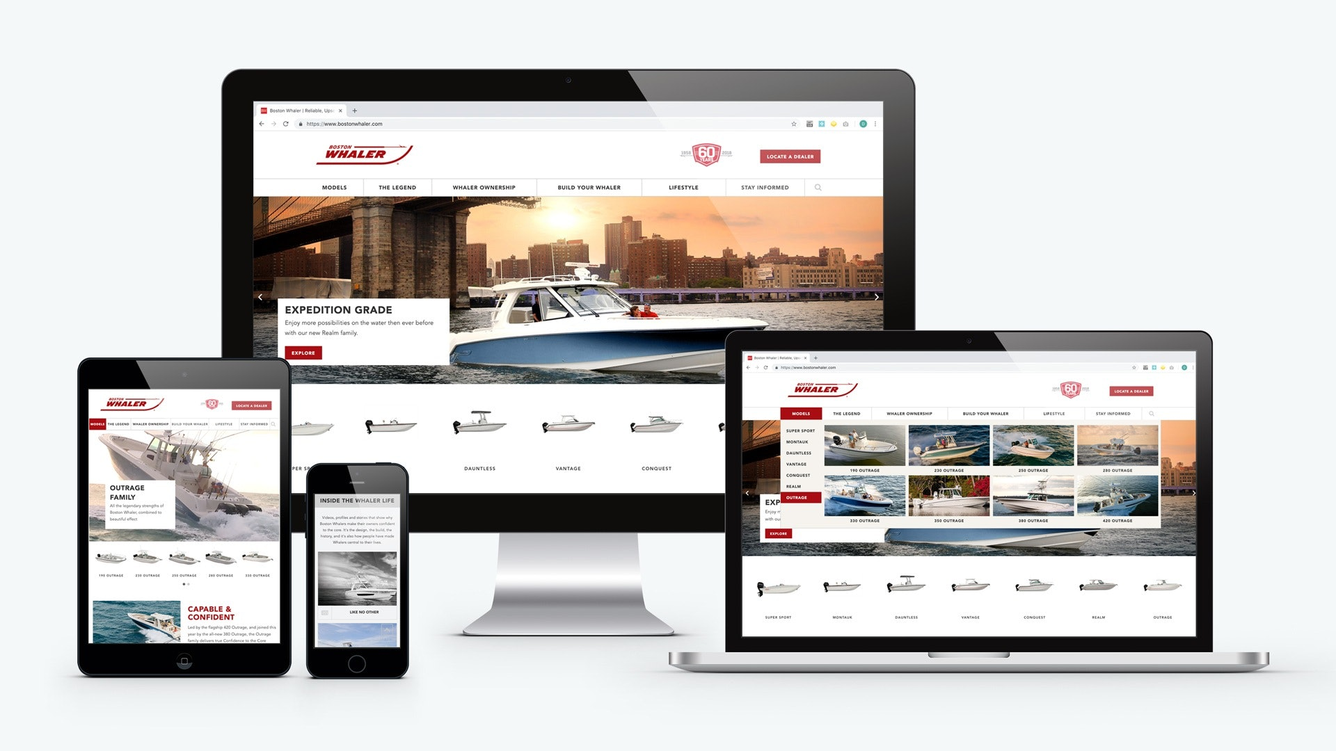 boston whaler website redesign on desktop, laptop, ipad, and iphone screens