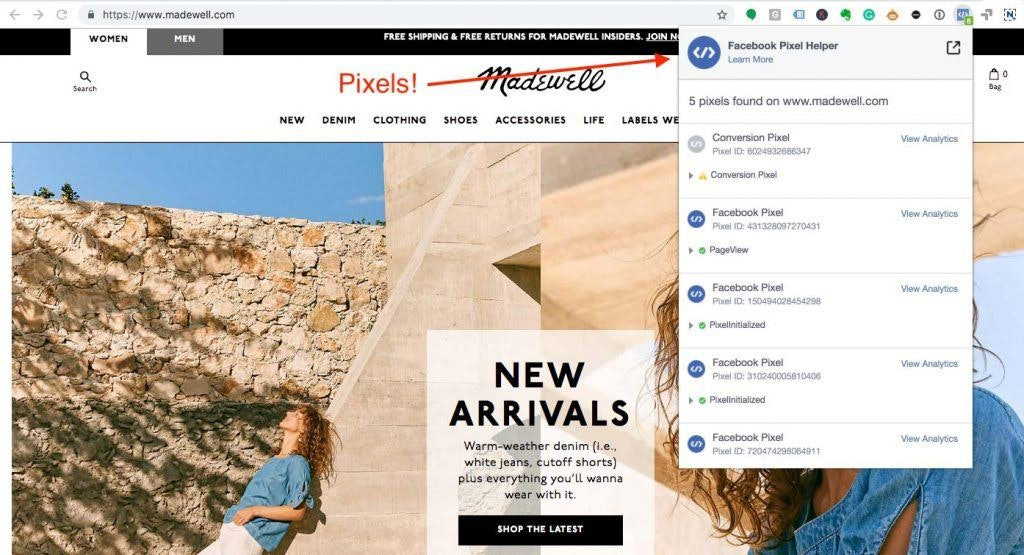 Screenshot of Madewell.com with Facebook Pixel Chrome Extension