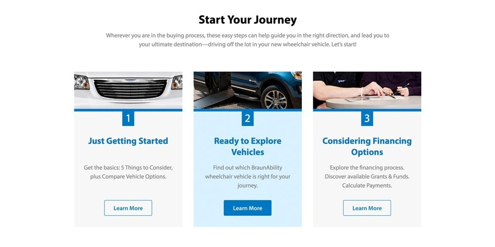 braunability website screenshot of buyers journey