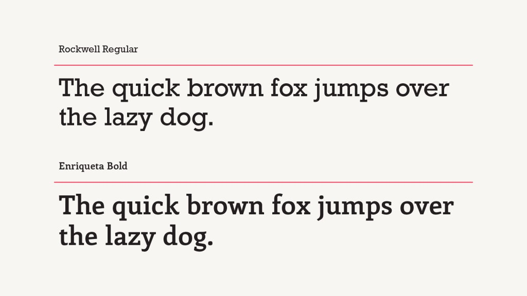 Rockwell Regular Font vs Alternative Enriqueta Bold