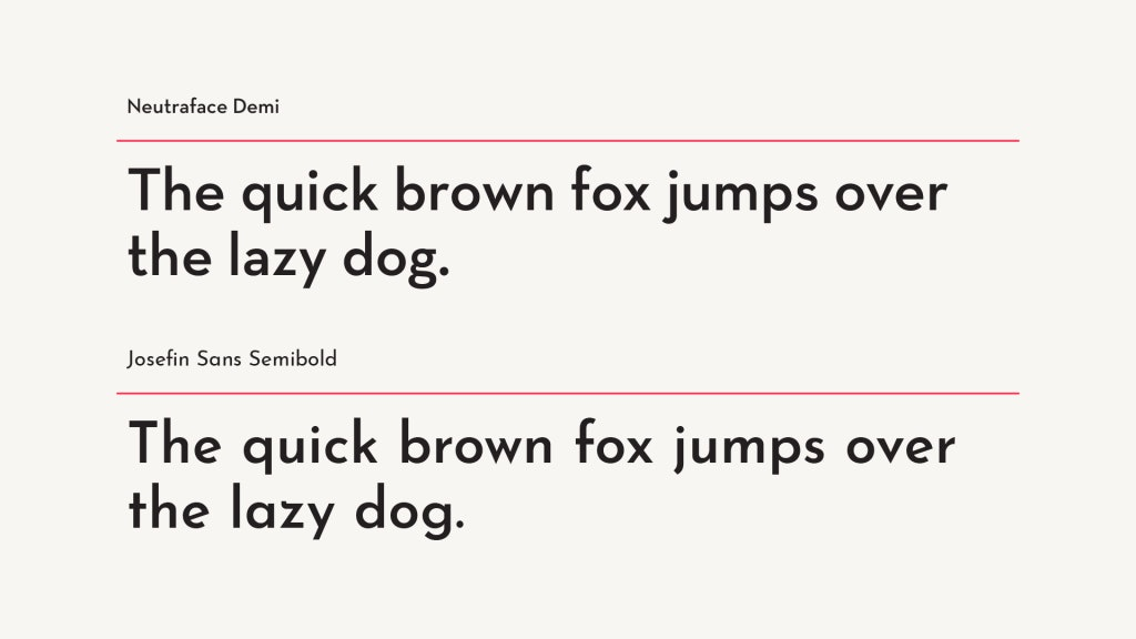 Neutraface Demi Font vs Free Alternative Josefin Sans Semibold