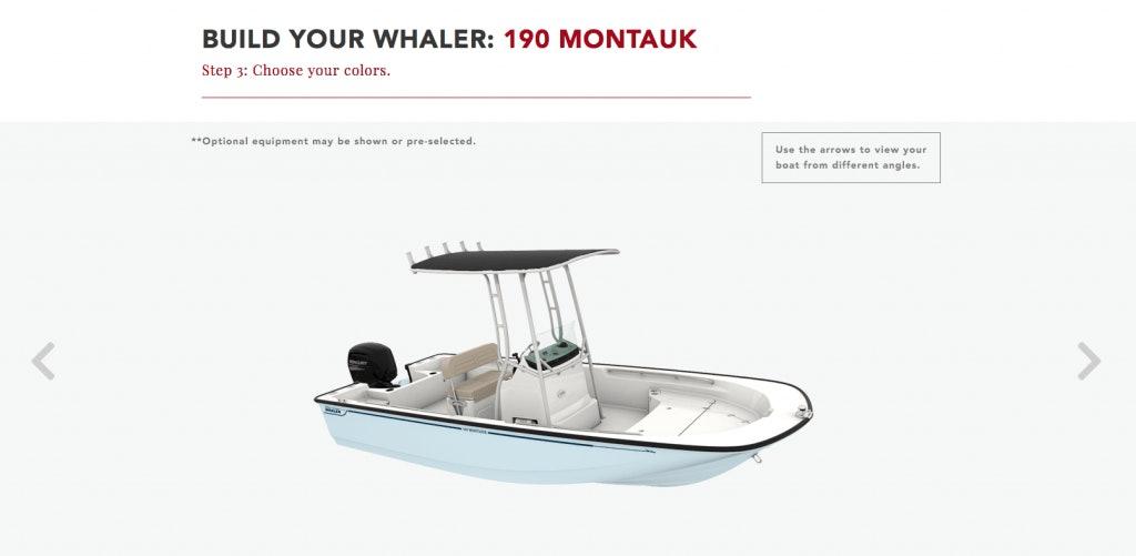 Boston Whaler Boat Builder Tool on Website