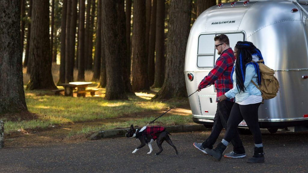 Couple Walking Dog in Front of Aluminum Travel Trailer