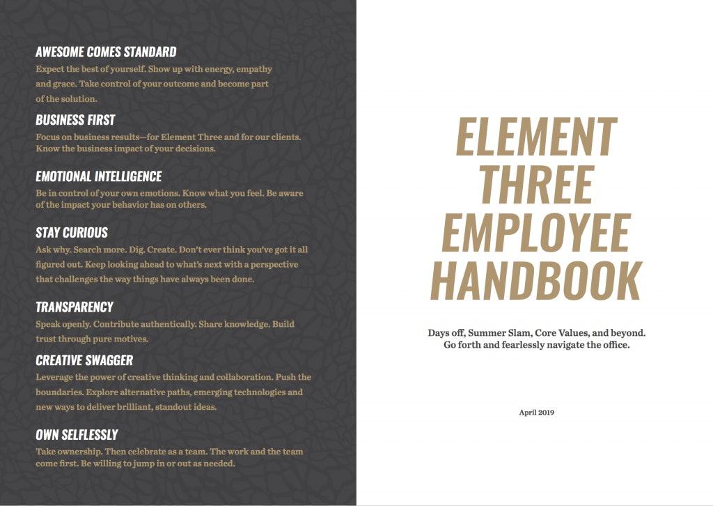 E3 Employee Handbook Example