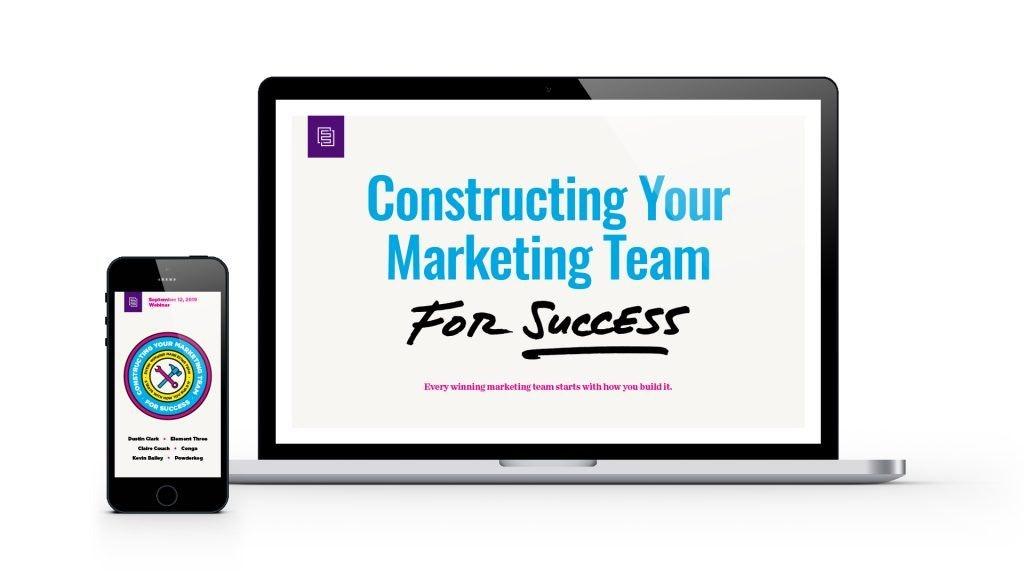Marketing Team Webinar Mocked Up on Laptop and Phone