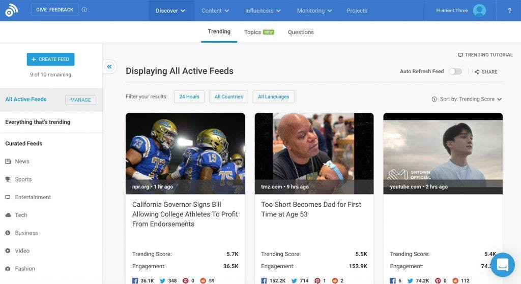BuzzSumo Overview Page