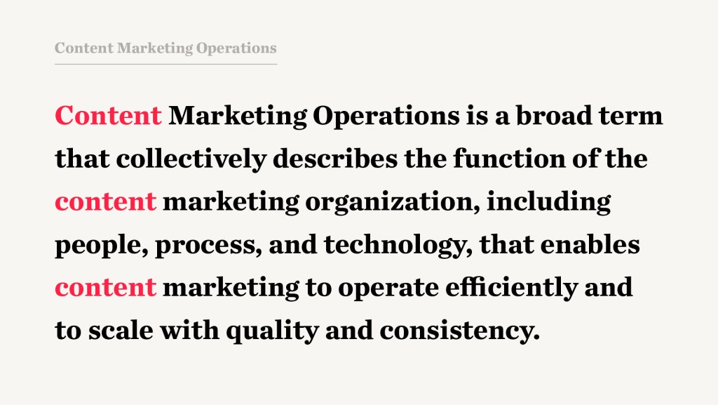 Content Marketing Operations