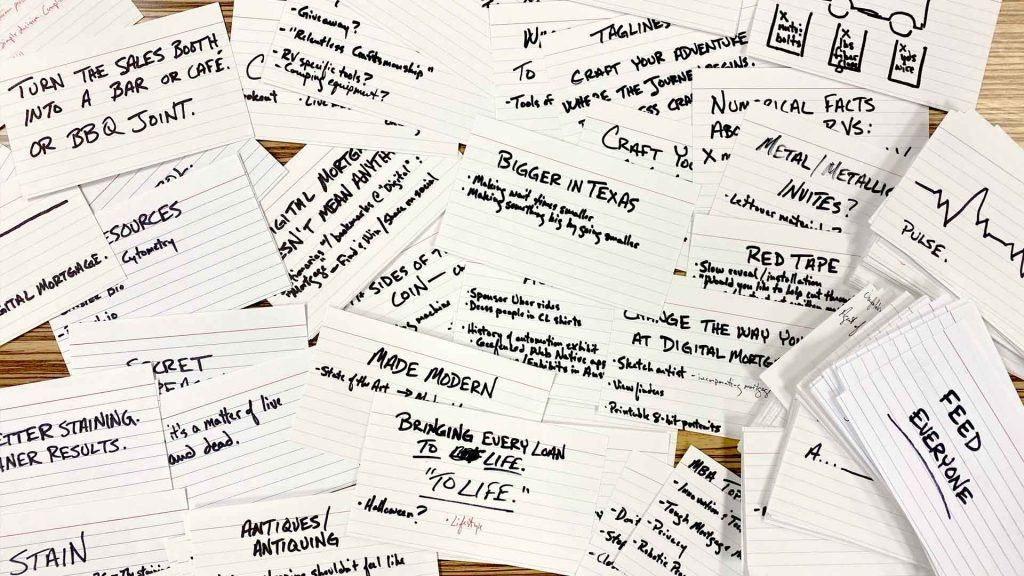 Notecards with Ideas on a Desk