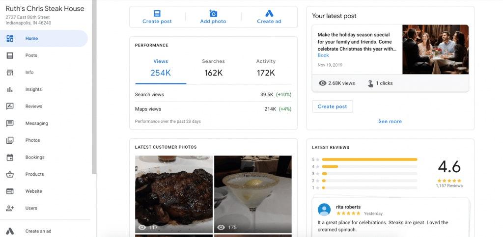 Ruth's Chris Steak House Google My Business