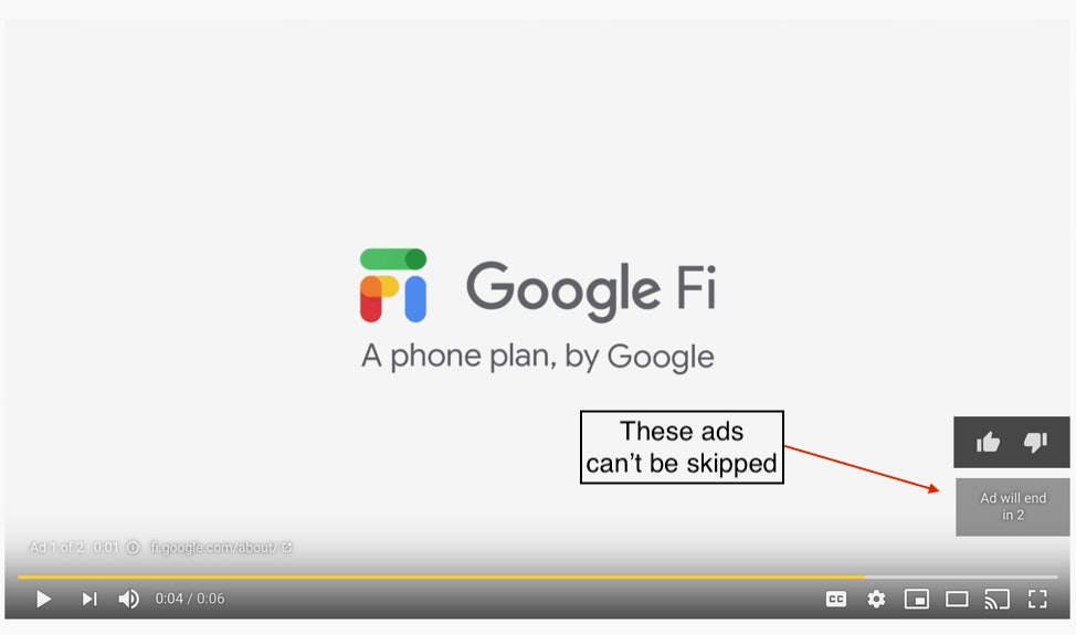 Examples of YouTube Non-Skippable Ads