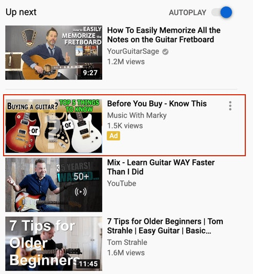 Guitar YouTubeAd in Sidebar