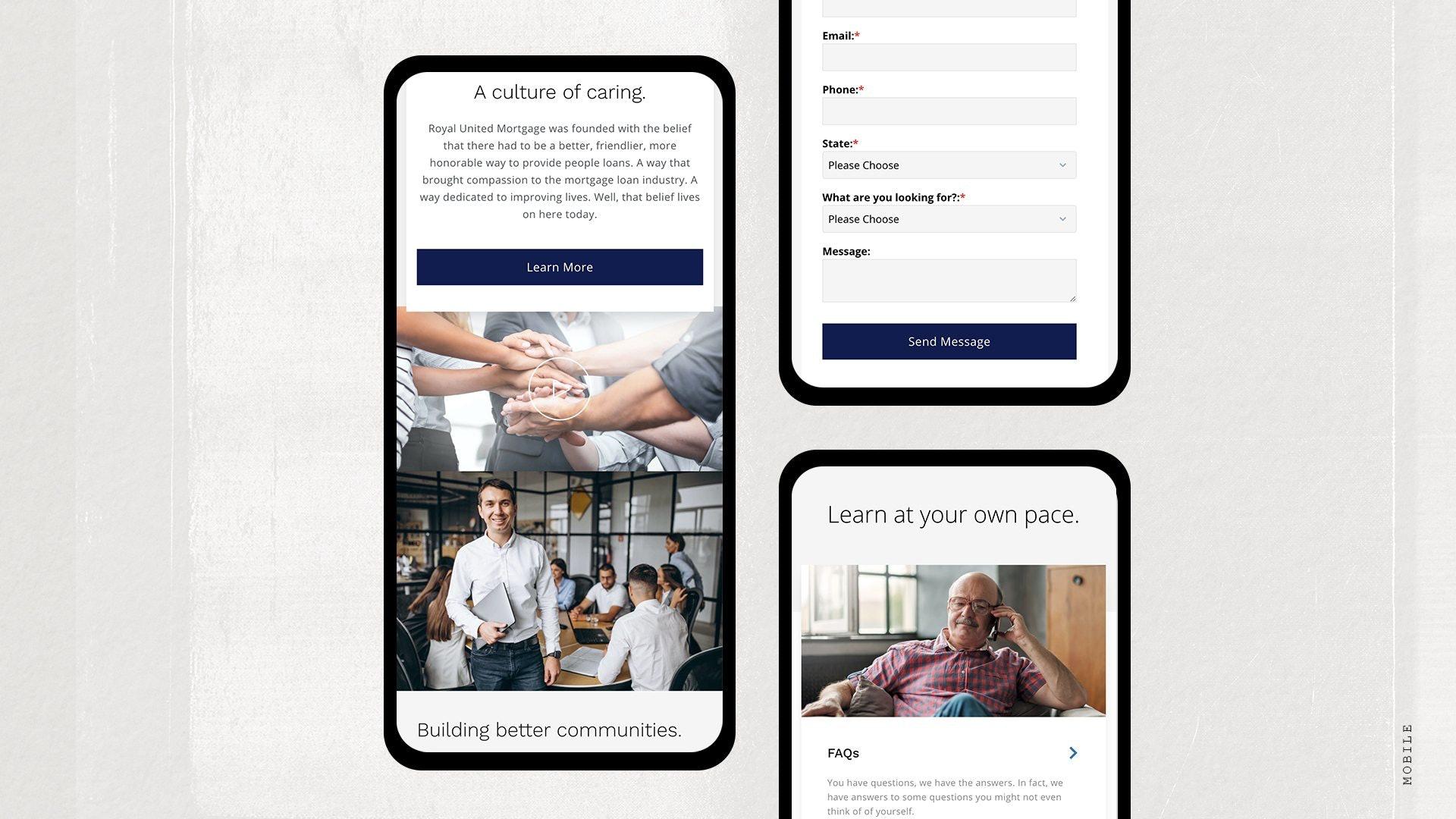 Royal United Mortgage Website on Smart Phone