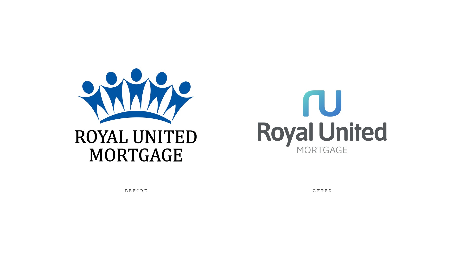 Royal United Mortgage Logo Before and After